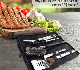 BBQ Grill Tool Set with Grill Brush + Meat Thermometer